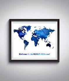 World Map Blue International Watercolor by InstantDownloadArt1
