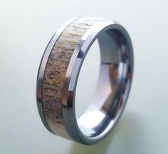 Tungsten Wedding Ring,Deer Antler Ring, Tungsten Carbide Ring, Tungsten Ring With Deer Antler Inlay