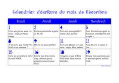 Calendrier d'écriture CE1 décembre de Zaubette Expressions, Boarding Pass, Spelling, Elementary Schools, Calendar, 1st Grades