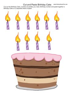 Cut and Paste Birthday Cake. Cut out the candles and paste onto the birthday cake http://www.kidscanhavefun.com/cut-paste-activities.htm #preschool #kidsactivities #cutandpaste