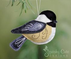 Sewing Patterns Chickadee Sewing Pattern PDF - Backyard Bird Stuffed Ornament - Felt Plushie - Chester the Chickadee - Plushie Patterns, Felt Patterns, Bird Patterns, Felt Ornaments Patterns, Ornament Pattern, Potholder Patterns, Softie Pattern, Felt Embroidery, Embroidery Stitches