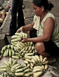 selling bananas, Carbon Public Market, Cebu City, Philippines
