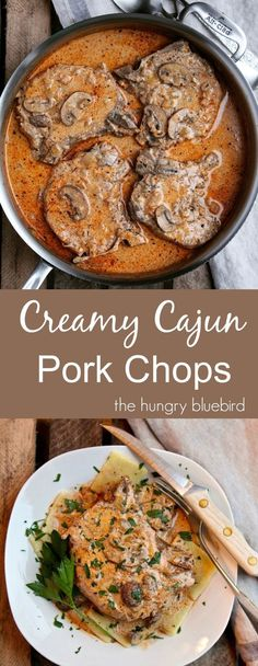 Smothered pork chops in creamy Cajun gravy #porkchops #dinner #cajun
