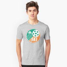 'Ireland Retro Football' T-Shirt by TigersFanatics Football S, Retro Football, V Neck T Shirt, Classic T Shirts, Hoodies, Mens Tops, Stuff To Buy, Products, Fashion