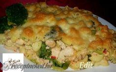 Rakott tészta csirkével és brokkolival recept fotóval Quiche Muffins, Mashed Potatoes, Cauliflower, Macaroni And Cheese, Casserole, Pasta, Salad, Meat, Chicken