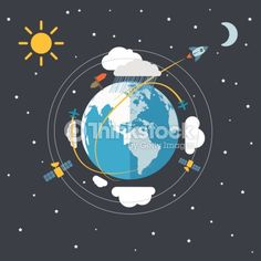Clipart vectoriel : Flat design illustration of the Earth in space