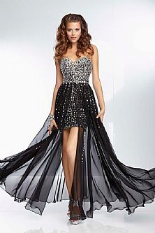 High Low Sweetheart Crystal Two Piece Black Prom Dresses 2015