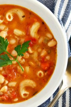 Pasta E Fagioli Soup this recipe is CRAZY delicious! Thick Rich Broth Loaded With Pasta, Beans and Veggies