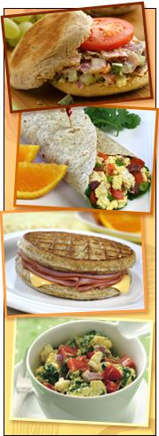 Low-Calorie Breakfast Recipes | Hungry Girl, I am most interested with the image of the waffle ham and cheese sandwhich