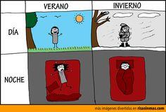Día y noche de verano e invierno.