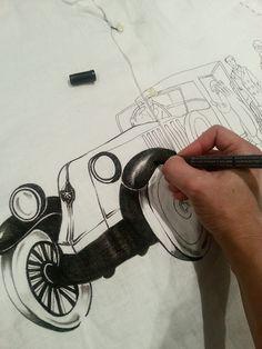 Pintado a mano sobre camisa de lino