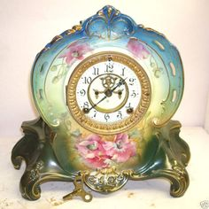The porcelain is beautiful and the crystal glass cover is pristine. Antique Mantel Clocks, Old Clocks, Vintage Clocks, Wall Clock Brands, Wall Clock Online, Wall Clock Luxury, Ansonia Clock, Tick Tock Clock, Classic Clocks