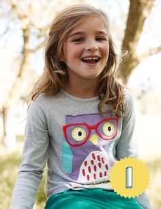 Letter I. Big Appliqué T-shirt 31794 Graphic T-Shirts at Boden School Fashion, Kids Fashion, Fashion Outfits, Boden Clothing, Cute Boy Outfits, Owl Shirt, Mini Boden, Couture, T Shirts
