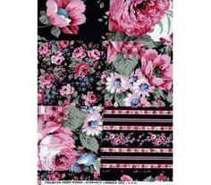 Coton imprimé motif fleur rose