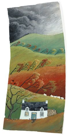 This rug hooking reminds me of our little house on the prairie. Always windy and lots of storms.