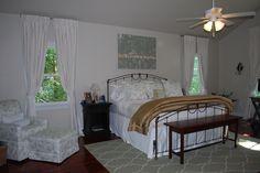 Master Bedroom - custom made bedding, draperies, chair & ottoman, trellis rug