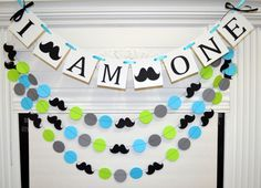 I AM ONE banner and garland set mustache first by DCBannerDesigns