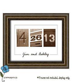 Personalized Wedding Date Printable Wall Art DIY - Engagement, Wedding, Valentines or Anniversary G Craft Gifts, Diy Gifts, Diy Wedding, Wedding Gifts, Wedding Ideas, Wedding Stuff, Wedding Venues, Do It Yourself Wedding, Diy Wall Art