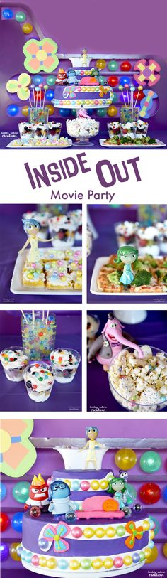 Inside Out Movie Party! Ultimate Inside Out Movie Party with great ideas for a background, cake, snacks and games! So fun!  #InsideOutMovieNight #ad