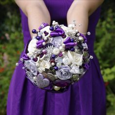 Violet Button, Brooch& Ribbon Bridal Bouquet