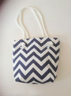 Nautical Tote  Handbag  Navy White Chevron  Beach Bag  Duck Cotton-Medium-Gift for Mom -Wedding Gift-Bridal Party Gift