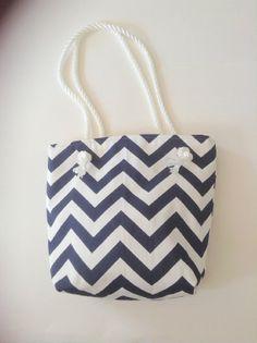 Nautical Tote  Handbag  Navy White Chevron  Beach Bag  Duck Cotton-Medium-Gift for Mom -Wedding Gift-Bridal Party Gift