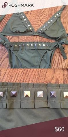 BECCA Bikini Green with studs. Really cute. Worn once & cleaned. L top, S bottoms. BECCA Swim Bikinis