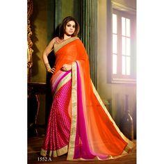 Designer Orange & Pink Printed Chiffon Bhagalpuri Silk Saree - RKVAS1552A ( FH-RKVAS1551 )