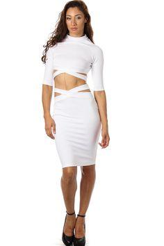 Midi Skirt Set - Ruffle Crop Top - Matching Midi Fitted Skirt ...