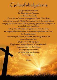 Geloofsbelydenis Prayer Times, Prayer Verses, Bible Prayers, Inspiration For The Day, Spiritual Inspiration, Christian Messages, Christian Quotes, Pontius Pilatus, Apostles Creed