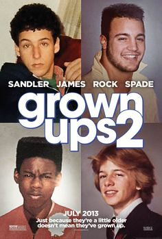 Grown Ups 2 - 6.5/10 - It's an Adam Sandler movie. If you don't know what you're getting into, don't see it. some funny parts, alot of ridiculous ones. @ReadAlessandra