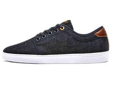 WeSC Mens Edmond Denim Sneakers - Raw Dry Rigid Denim Selvedge Selvage Jeanswear - Low Top Jeans Fabric Shoes Footwear Street Casual Custom Cupsole Gel Heel Woven Tongue Label -  2014 Spring Summer Season Fashion Menswear Collection - Made in Denim Style Finds