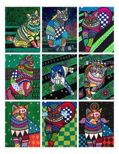 Cat ACEO card print set  Cat Folk Art by by HeatherGallerArt, $24.00