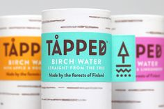 Package design for flavoured birch water brand Tåpped by UK graphic design studio Horse