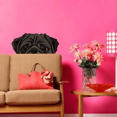 Peek-A-Boo Pug Wall Decal Maybe now I can get a dog my husband will be  ok with!
