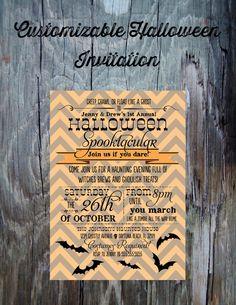 Halloween Party Invitation-Printable Halloween Invitation- Orange Chevron and Bats FeatheredHeartPrints
