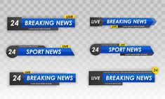 Television broadcast media title banner.... | Premium Vector #Freepik #vector Radio Channels, Live Television, Live Breaking News, Photoshop Design, Sports News, Infographic, Tv, Ice Hockey, Banners
