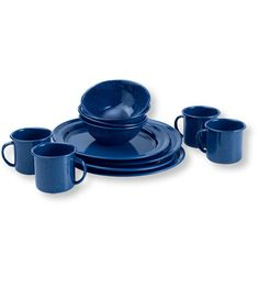 This 12-piece table set brings back the classic look of speckled blue enamel. It's a great choice for RV or car camping, or any camping situation where going light is not necessary. The high-temperature enamel finish is baked onto heavy-gauge steel for maximum durability. Includes four 10-inch plates, four 6-inch bowls and four 12-oz. cups. Dishwasher safe. Imported.