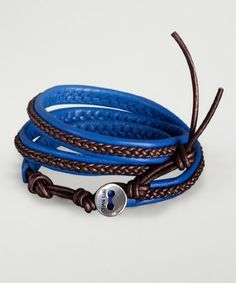 Chan Luu blue and tamba brown braided leather wrap bracelet | BLUEFLY up to 70% off designer brands
