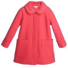 Chloé Girls Coral Pink Wool Coat at Childrensalon.com