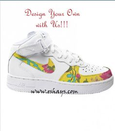 Custom Yellow Floral Nike Air Force Ones- Hi Tops Design Your Own Sneakers,  Your 8e76e569b1