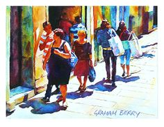 """Sunny sidewalk by Graham Berry Watercolor ~ 9"""" x 12"""""""