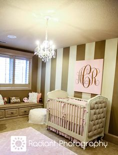 Awesome girl's nursery from PR Girl in KC.  Love the RH bed and the monogrammed canvas using a stencil from The Mad Stencilist!