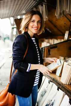 Wearing It Today: WIT andJ J.Crew in Paris part three: Pont des Arts Wearing It Today: WIT andJ J.Crew in Paris part three: Pont des Arts Navy Blazer Outfits, Look Blazer, Casual Outfits, Navy Blazers, Black Blazer Outfit Casual, Striped Top Outfit, Shirt Outfit, Laura Fantacci, Mode Outfits