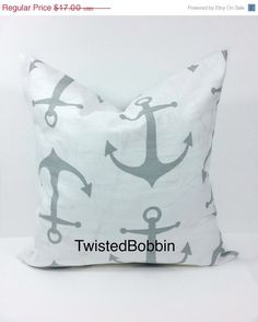 SALE ENDS SOON Pillow cover. Gray and by TwistedBobbinDesigns