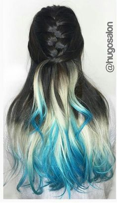 Black blonde blue ombre dyed hair color