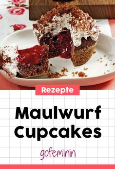 Maulwurf Cupcakes mit roter Grütze #cupcakes #rezepte #muffins