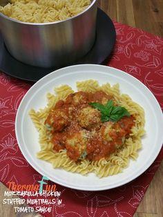 Mozzarella Chicken Stuffed Meatballs in Tomato Sauce Recipe - ThermoFun | MAKING DECADENT FOOD AT HOME
