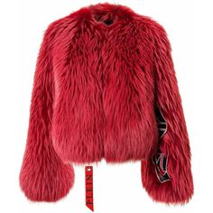 "Fur Jacket ""By The True"" found on Polyvore featuring outerwear, jackets, red jacket, fur jacket and red fur jacket"