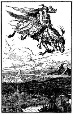 Prime and Princess of Persia Arrive on a Flying Horse